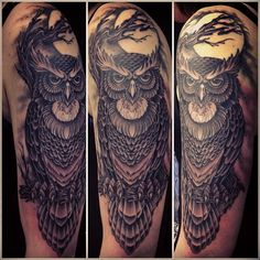 Owl half sleeve - By Mark Lonsdale, Sydney Australia