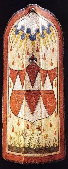 A Fine Bohemian Pavise, circa 1480 (Overall height: 50 1/4 in; Overall width: 21 in) -- Wappen von Olmütz vor Flammen-Hintergrund.