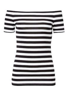 Viscose/Elastane Off The Shoulder Stripe Tee. Neat fitting silhouette features an off the shoulder neckline, elasticised casing and short sleeves in an all over stripe. Available in Black/White as seen below.