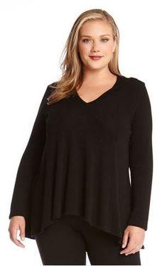 KAREN KANE PLUS SIZE BLACK LONG SLEEVE HOODED TOP #Karen_Kane #Black #Long_Sleeve  #Hoodie #Hooded_Top #Comfy #Chic #Fall #Winter #Plus_Size_Fashion