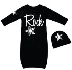 "Imagine bringing home your little Rock Star from the hospital in this adorable newborn baby boy's outfit! Soft black cotton gown reads ""Rock"" in large white letters. Arm has a star graphic. Includes black cap with white star graphic.    One size 0-3 months. 
