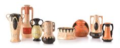 """Selkirk Auctioneers  GROUP OF CZECH POTTERY.  Eight pieces, various forms including seven two-handle vases. Tallest 12.25""""h.  Estimate $ 200-30"""