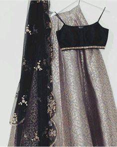 Gray Brocade Lehenga Blouse Indian Dresses Shop Online - April 20 2019 at Lehnga Dress, Lehenga Blouse, Lehenga Choli, Sabyasachi, Indian Attire, Indian Wear, Indian Outfits, Indian Clothes, Brocade Lehenga