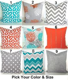 SALE TEAL PILLOWS Turquoise Outdoor Pillow Covers Teal Orange Orange Pillow  Covers 71ccd00e58
