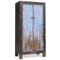 Tall cabinet or wardrobe made from chunky reclaimed pine wood, finished with distressed black lacquer frames and contrasting powder blue doors. #PineWardrobe #ShabbyChicWardrobe