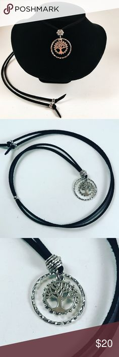 Women asjustable leather tree of life necklace Women necklace. Handmade by me . Never worn by anyone. Steel beads and hoop , silver plated tree of life pendant . Comes with adjutable black leather cord  Wear it as a chocker or long . I ship fast!!😊✈️😉Bundle and save !! ( 10 % off bundles) . Any questions let me know ! 🚫No transactions outside Poshmark!! Jewelry Necklaces