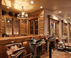 western saddles used as bar stools in the home