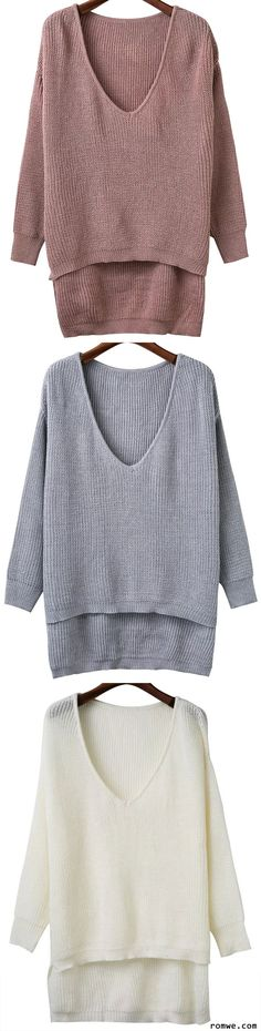 V Neck High Low Knitwear