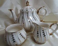 Vintage Porcelain Turquoise Sugar & Creamer Set With 22k Gold Trim To Adopt Advanced Technology Creamers & Sugar Bowls Ceramics & Porcelain