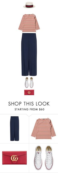 """c."" by sharplilteeth ❤ liked on Polyvore featuring The Row, Gucci, Converse, Goorin, stripes, redwhiteandblue, summerstyle and stripedshirt"