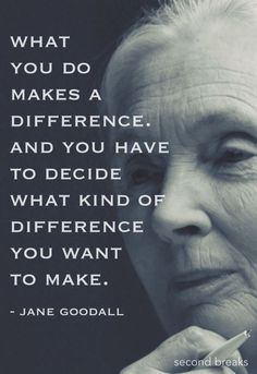 """What you do makes a difference. And you have to decide what kind of difference you want to make""- Jane Goodall quotes 50 Best Strong Women Quotes In Celebration Of Women's History Month Great Quotes, Quotes To Live By, Me Quotes, Motivational Quotes, Inspirational Quotes, Honor Quotes, Nature Quotes, Quotes On Kindness, Earth Quotes"