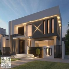 House design - Modern Volumes With Seamless Lighting By Inverse Architecture Firm architecture modern exteriordesign uae dubai sharjah abudhabi interiordesign luxeliving uniquedesign decor reception inv House Front Design, Roof Design, Facade Design, Modern House Design, Exterior Design, Modern House Facades, Modern Architecture House, Modern House Plans, Architecture Design