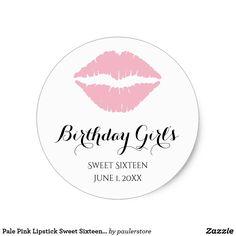Pale Pink Lipstick Sweet Sixteen Birthday Party Classic Round Sticker