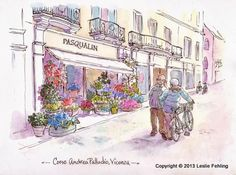 Everyday Artist: Sketchbook Journeys - Italy: Day 7 (Vicenza - A flower shop and two Italian gentlemen)
