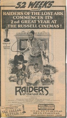 Picture of Indiana Jones and the Raiders of the Lost Ark Old Movies, Vintage Movies, Vintage Ads, Harrison Ford Indiana Jones, Vintage Newspaper, Tv Ads, Great Films, Classic Movies, Film Posters