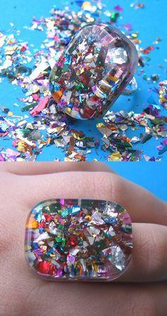 sparkle resin ring | by Jings Things