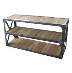 Duffy Industrial Reclaimed Wood 3 Shelf Scaffolding Console Table