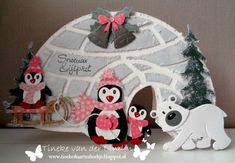 Marianne Design collectables | COL1370 Eline's Polar bear | COL1413 Eline's snowman (muts, sjaal en wanten) | COL1415 Eline's sleigh and flow |COL1416 Eline's Penguin