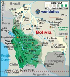 Map of Bolivia Capital Sucre and La Paz Languages Spanish
