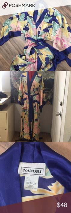 NWT Natori satin bathrobe or dressing gown Sz M NWT Natori satin bathrobe or dressing gown Sz M. Perfect for brides getting their hair and make up done on the big day!! Beautiful floral robe with pockets! No rips stains or defects. Check out my closet for other items and bundle for extra savings!! Natori Intimates & Sleepwear Robes