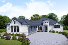 Plan Split Bedroom Mediterranean-Style House Plan with Large Rear Porch - This 3 bed Mediterranean-style house plan has a courtyard-entry garage and an attractive circular c - Garage House Plans, Best House Plans, Craftsman House Plans, Modern House Plans, Small House Plans, House Floor Plans, Kitchen Island With Sink And Dishwasher, Sink In Island, Courtyard Entry