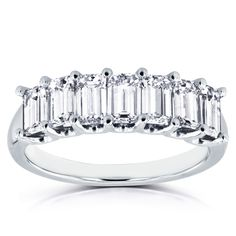 Shop for Annello by Kobelli White Gold 1 TDW Emerald Cut Diamond Semi Eternity Wedding Band. Get free delivery On EVERYTHING* Overstock - Your Online Jewelry Shop! Diamond Bands, Gold Bands, Diamond Cuts, Emerald Cut Wedding Band, Diamond Wedding Bands, Wedding Rings, Anniversary Jewelry, Anniversary Bands, Womens Wedding Bands