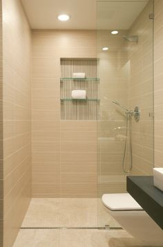 Large shower niche with contrasting tile and 2 shelves