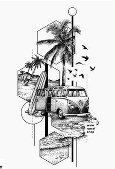 Tropisches Tattoo, Tattoo Line, Surf Tattoo, Calve Tattoo, Jeep Tattoo, Dotted Drawings, Cool Art Drawings, Art Drawings Sketches, Tattoo Drawings