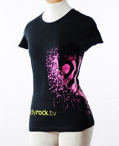Womens Black T-Shirt with Yellow Glitter size medium