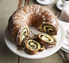 This clever rolled dough gives this bundt cake a lovely swirled finish. Serve as a special occasion breakfast, or with coffee