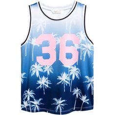 Basketball Shirt $14.99 ($15) ❤ liked on Polyvore featuring tops, print shirts, palm print shirt, blue print top, mixed print top and palm print top