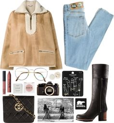Kick Up the Leaves (Stylishly) With SOREL: CONTEST ENTRY by mariimontero featuring Byredo ❤ liked on Polyvore Chloé sheep fur coat, $4,610 / Cheap Monday jeans / SOREL thigh-high boots / Chanel leather crossbody purse / Topshop set ring / Benetton...
