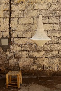 Medium Wahad Crochet Pendant Light in Soft White. Handcrafted in Marrakech.