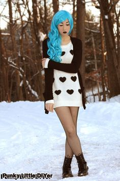 Heart sweater, black boyfriend cardigan, fishnet hose, combat boots, turquoise hair