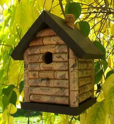 This beautiful and unusual birdhouse is constructed using over 50 wine corks, giving it a log cabin appearance. Description from etsy.com. I searched for this on bing.com/images
