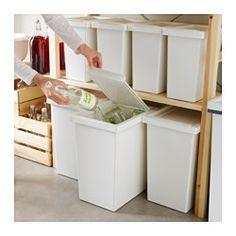 IKEA - FILUR, Panier avec couvercle, 28 l, , Les angles arrondis facilitent le nettoyage.