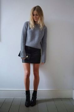 Lovely grey knit jumper in grey with black mini skirt and bootis, so cool