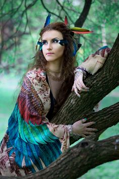 """For the project """"Winged people"""" #Sirin #heaven #bird #sidhe #shovava #feather #faery #fairy #girl #image #character #green #blue #wings #fairytale #tree"""