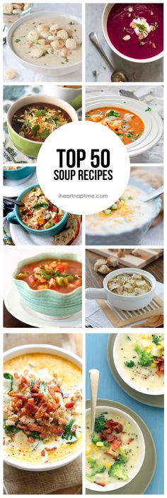 50 soup recipes from http://iheartnaptime.com -great recipes for the cold months ahead. I love all of them! #soup #recipes #healthy #recipe #lunch