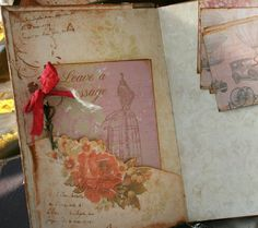 Wedding Guest book 150 pages in vintage by youruniquescrapbook