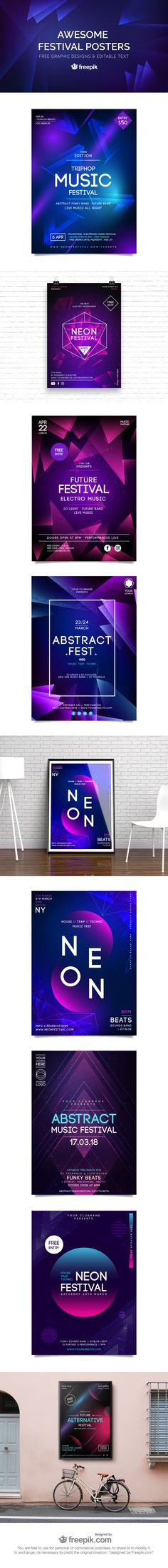Free Awesome Festival Poster Templates #freebie #freepostertemplate #posterdesign