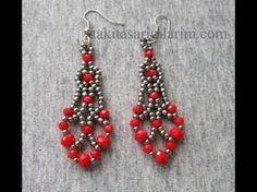 Crystal Beaded Earrings Making - Küpeler - Jewelry Seed Bead Jewelry, Bead Jewellery, Seed Bead Earrings, Beaded Earrings Patterns, Beaded Bracelets, Earring Tutorial, Bracelet Tutorial, Handmade Beaded Jewelry, Crystal Beads
