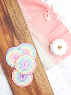 DIY rainbow coasters