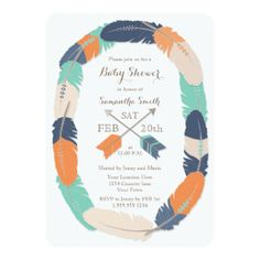 tribal arrows it's a boy baby shower banner boho feather blue, Baby shower invitations