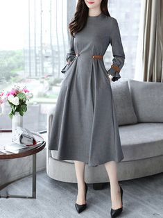 Band Collar Slit Pocket Belt Plaid Maxi Dresses , formal dresses maxi dresses womens dresses summer dresses party dresses long dresses casual dresses dresses for wedding , # Mode Outfits, Dress Outfits, Casual Dresses, Dresses For Work, Maxi Dresses, Summer Dresses, Formal Dresses, Wedding Dresses, Dress Shoes