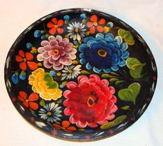 ":D❤️Vtg Hand Painted 13"" Folk Art Mexican Batea Carved Wood Tole Tray Bowl Floral"