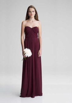 e1156d067d6  LEVKOFF 7008 Strapless Bridesmaid Dress Burgundy Bridesmaid Dresses