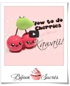 Deux petits tutos vidéo tout mignon (de CupOfCakeTV) pour créer des fraises et des cerises en pâte FIMO kawaii.