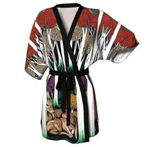 This beautiful forest and deer kimono robe is comfortable and glamorous. The easy-care fabric is digitally printed with hand illustrated artwork from my forces, flora, and fauna series featuring a pair of sleeping deer in an ethereal wooded landscape. It is perfect for lounging around the house or covering up at the beach. This robe is also available in chiffon for a slightly sheer elegant look. Silky Knit -Lightweight silky-knit 100% ecopoly fabric made in Canada -Knit bamboo fabric trim…