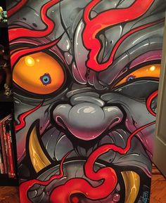 "Finished this Fudo Myoo face tonight. Lots more in the works. 24"" x 36"" acrylic on canvas. (at Mount Fuji Japan)"